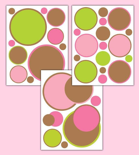 polka dot decals pink green brown wall decals baby girl pink amp black polka dot wall stickers