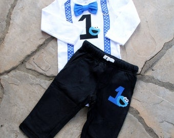 Cookie Monster Baby Boy Bow Tie Bodysuit with Suspenders and bottoms, Birthday, Photo Prop, First Birthday, Sesame Street, 1st Birthday