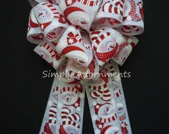 Snowman Burlap Christmas Bow Christmas Snowman Burlap Bow Red White Burlap Snowmen Christmas Tree Topper Bow Snowmen Bow Gifts Topper Bow