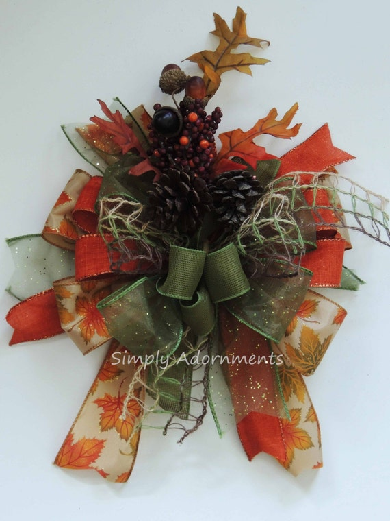 Whimsical Orange Green Fall Lantern Bow Funky Fall leaves door hanger Bow Thanksgiving Wreath Bow Maple Leaves Thanksgiving Gift bow