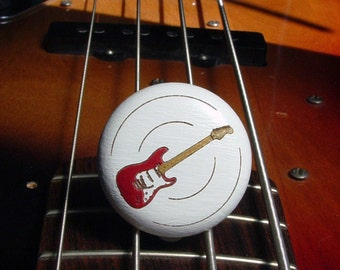 Cabinet knob guitar guitar engraving beech - furniture knob - electric guitar - hand-painted - engraving - incl. screw