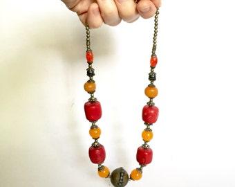 Tribal Boho Beaded Necklace
