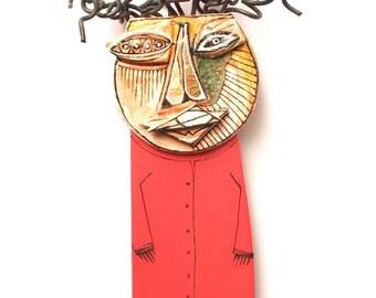 Funky art sculpture, 3d wall sculpture, Assamblage art, Mixed media art doll, Crazy art, Wall figure, Ceramic art sculpture, 99heads