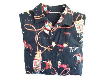 Southwestern Apache Ladies Cotton Shirt Vintage 80s Fashion