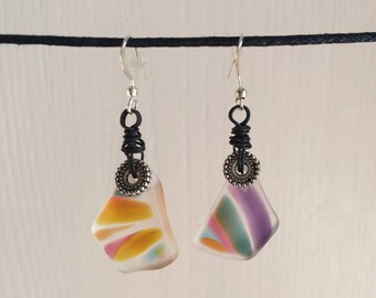 Recycled Glass Earrings, Art Glass, Wire Wrapped