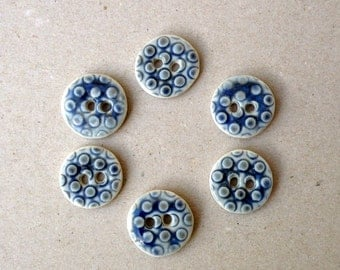 Blue Grey Ceramic Buttons , Porcelain Dot  Buttons , Crafting Supplies , Sewing Buttons.