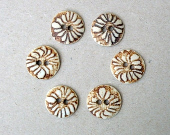 Rustic Flower Buttons , Rust And White Porcelain Sewing Buttons