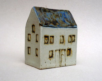 Tall Building , Blue Roof  House, Scottish Farmhouse , Ceramic Sculpture , Miniature Architecture