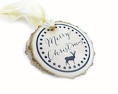 Rustic Christmas Gift Tags, Deer Christmas Tags, Round Holiday Tags, Woodland, Merry Christmas Tags, Scalloped Edges, Set of 12