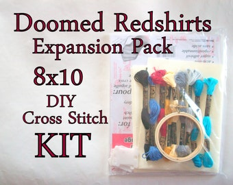 Cross Stitch KIT -- Doomed Redshirts Expansion Pack 8x10, all the shirts you could possibly want on a space voyage