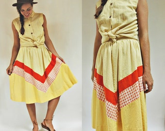 sale 1960s Yellow Printed Two Piece Panel Colorblock Skirt and Blouse Set