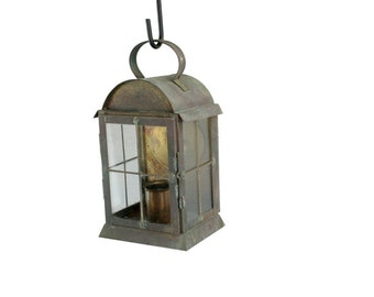 Reclaimed Colonial Styled Brass Exterior Pendent Lantern // Brass Exterior Lantern // Vintage Wall Mount Brass Lantern
