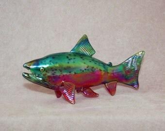 Hand Blown Glass Fish Coho Salmon Sculpture