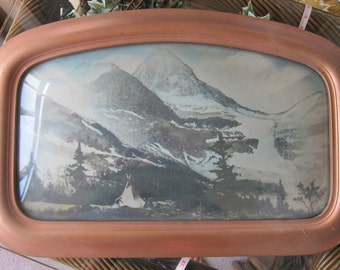 23x15-inch, Domed-Top, Shield-Shaped, Parlour Frame w/ Print of Glacier, Teepee & People - Late 1800s - Please See Description for Condition