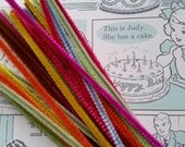2 Doz. Beautiful Vintage Rainbow Chenille Pipe Cleaners | Wired Sticks | Shabby Chic | Kitsch Craft Supply | NOS