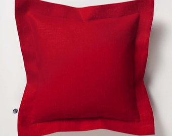 Red throw pillow - natural linen red cushion covers - decorative pillow cases with flange   0400