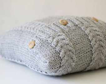Knit pillow cover - grey cable knitted pattern pillow - minimalistic style knit pillow cover - hand knitted cushion case 0317