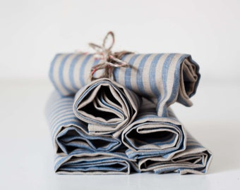 Linen napkin set of 6 - french farmhouse style - natural linen with blue stripes - Holiday table decor napkins -  18x18 inch size   0319