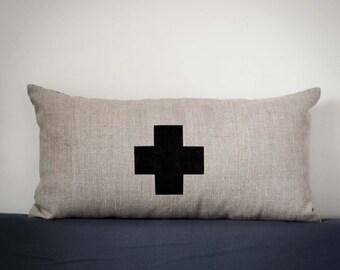 Swiss cross pillow cover - decorative pillows - decorative covers - throw pillows - shams - small lumbar case   0360