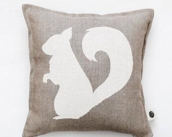 Squirrel pillow cover - decorative pillow - squirrel pillow - symbol of energy and balance - print cushion - bird throw pillow   0381