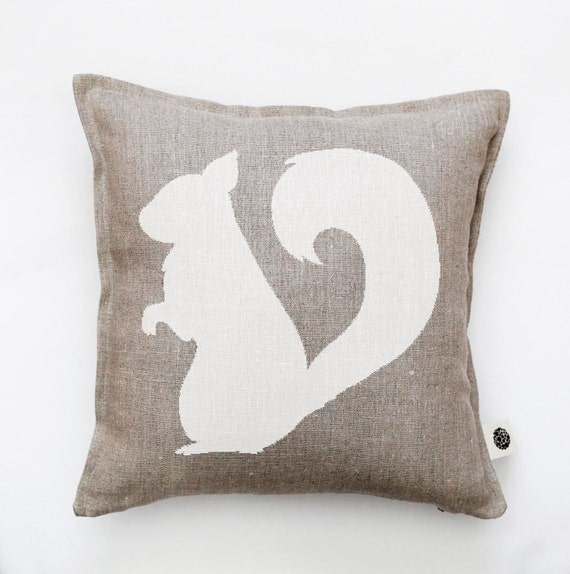 Squirrel pillow cover - decorative pillow - squirrel pillow - symbol of energy and balance - print cushion - bird throw pillow   0381