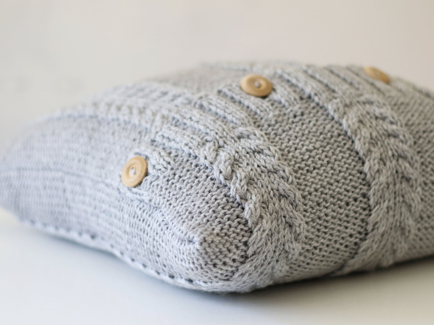 Knit pillow cover grey cable knitted pattern pillow