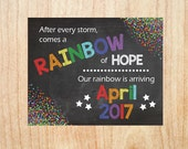 Rainbow Baby Pregnancy Announcement Sign PRINTABLE new baby chalkboard poster