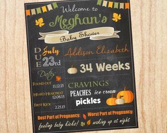 Pumpkin Baby Shower Chalkboard Sign Autumn Fall printable welcome poster chalk board DIY digital customizable print