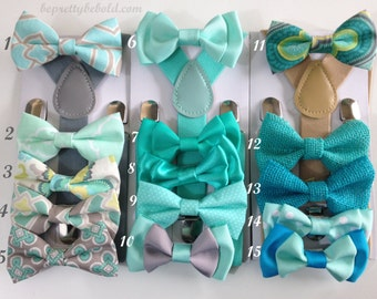 Mint Bow tie suspenders Teal Baby bowtie Boys Burlap Spa Bow ties Sea foam Toddler Necktie Gray Mens bowties Wedding Ring Bearer Outfit Groo