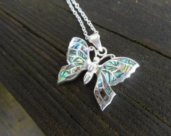 Butterfly necklace,abalone necklace,abalone butterfly necklace,sterling silver butterfly,abalone necklaces,butterfly necklaces,gift ideas