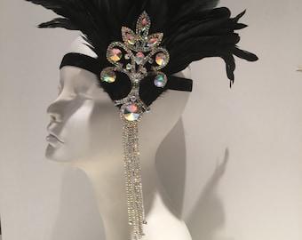 Great Gatsby -1920s Headpiece- Flapper -Black -Gatsby Headpiece- Rhinestone Feather Headdress- 1920s Headpiece -Gatsby- Jazz Age -New Years