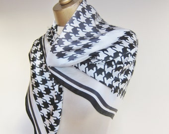 Silk scarf, black and white, houndstooth check, square silk scarf, check silk scarf, printed houndtooth.