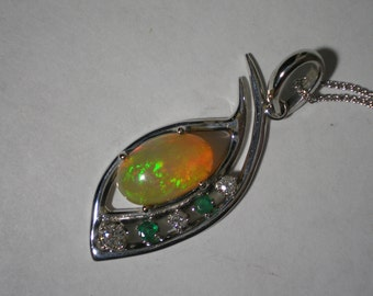 New Custom 14 kt White Gold Ethiopian Opal Diamond Emerald Pendant Necklace 20 Inches 9 Grams Plus