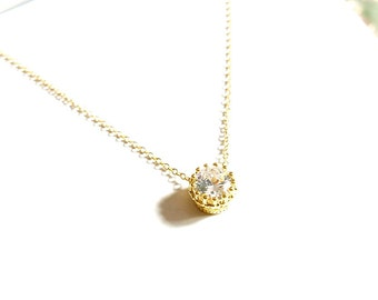 Solitaire Diamond Necklace -Diamond Necklace -Floating Diamond - Gold Necklace -Silver Necklace -Rose gold necklace, Bridemaids Wedding Gift