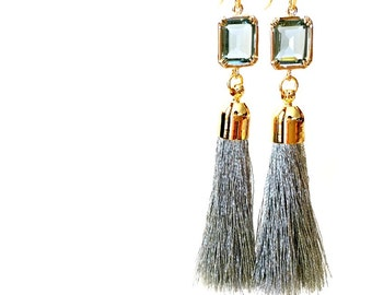 Tassel Earrings, Gray earrings, GreyEarrings, Wedding Jewelry Bridesmaid Jewelry Bridal Jewelry