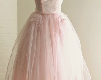 The Pretty in Pink Prom Dress | Tulle Cupcake Soft Blush | 1950s Vintage