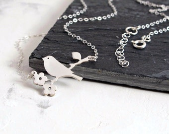 Silver Pendant Necklace, Silver Bird Necklace