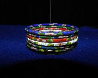 Vintage Cloisonne Enamel Bangle Bracelets set 6 (six) Jewelry Estate