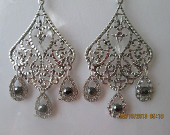 Silver Tone Earrings with Clear and Black Rhinestone Teardrop Dangles