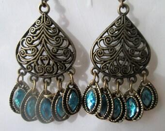 Bronze Tone Chandelier Earrings with Blue Rhinestone Dangles