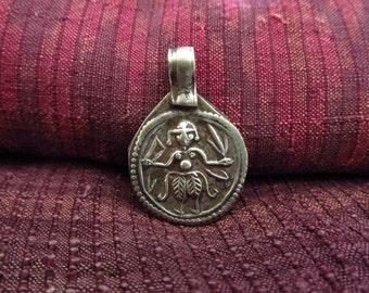 Antique Silver Shiva Hindu Amulet