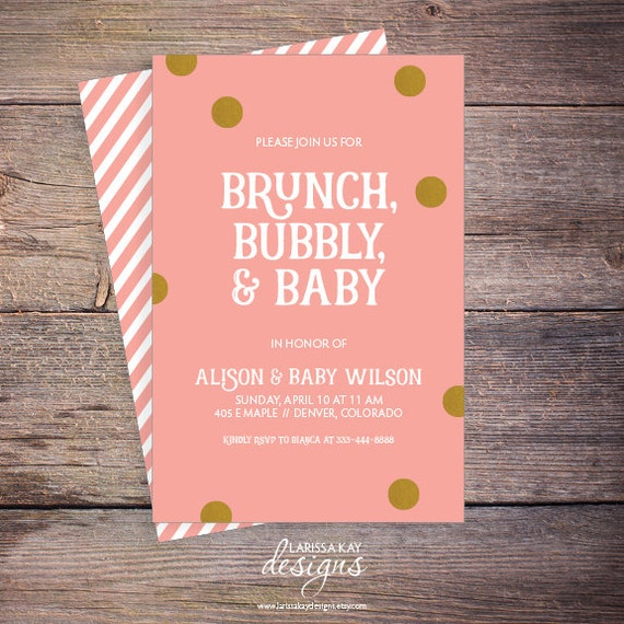 Brunch Bubbly & Baby Shower Invitation Pink and Gold Shower