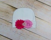 Baby Girl Princess Beanie Hat Newborn Baby Girl Accessory Pink and Hot pink Flower and Crown Rhinestone