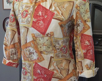 60s Western Novelty Print Cotton Blouse
