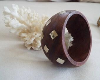 modernist wood sterling silver inlay bangle bracelet