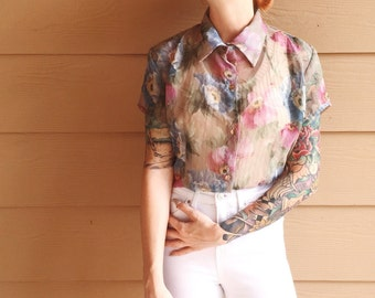 90s Floral Sheer Collared Oxford Button Down Chiffon Blouse Top // Women's size Small S