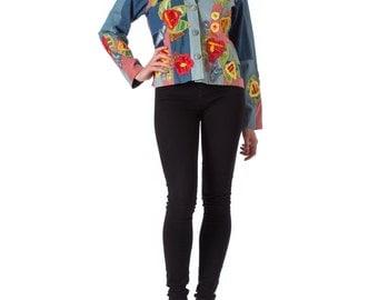1960s Denim Patchwork and Applique Jacket SIZE: M, 8