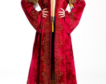 Antique Oddfellows Regal Red Velvet Gold Emboidered Fringed Robe Size:
