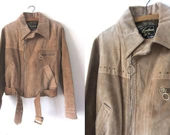 Camel Color Suede Moto Jacket - 70 Collar Sueded Leather Biker Jacket - Motorcycle Mod Boho Hippie Coat - Womens Medium