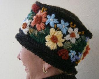 Flowers Embroidered Crochet Hat. Made to order. Warm accessory